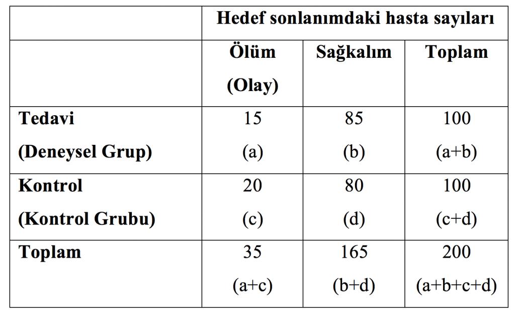 Tablo 2. Farazi çalışma sonuçlarının formüllerle yeniden düzenlenmiş hali