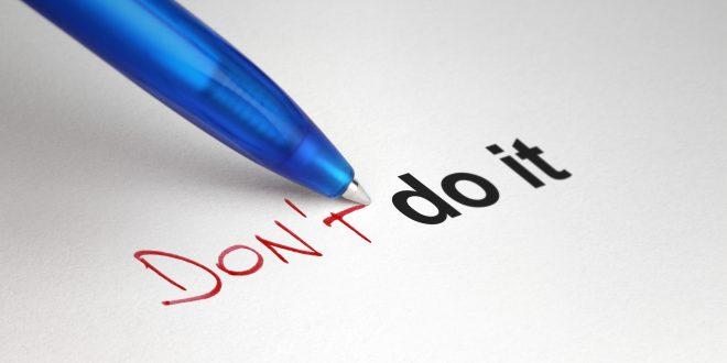 Don't do it. Written on white paper