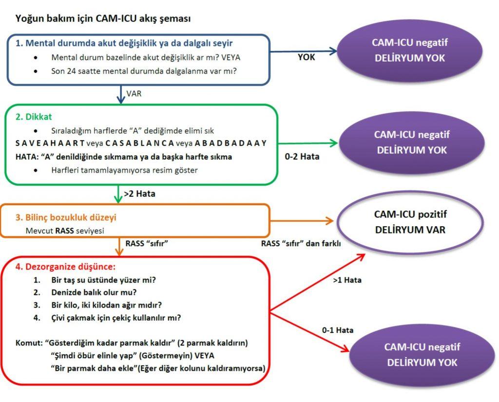 Yoğun bakım için CAM-ICU akış şeması