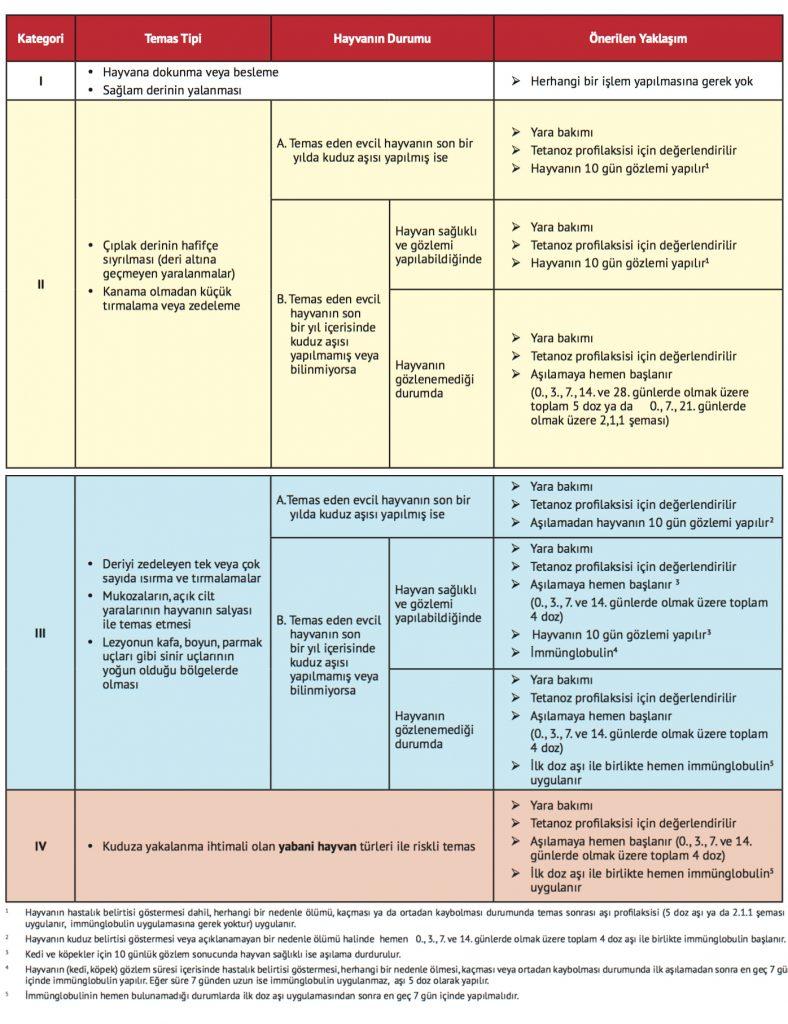 T.C. Sağlık Bakanlığı, Profilaksi önerileri