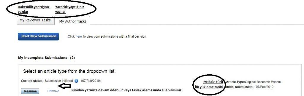 Düzenlenen (revize edilen) yazının tekrar dergi sistemine yüklenmesi