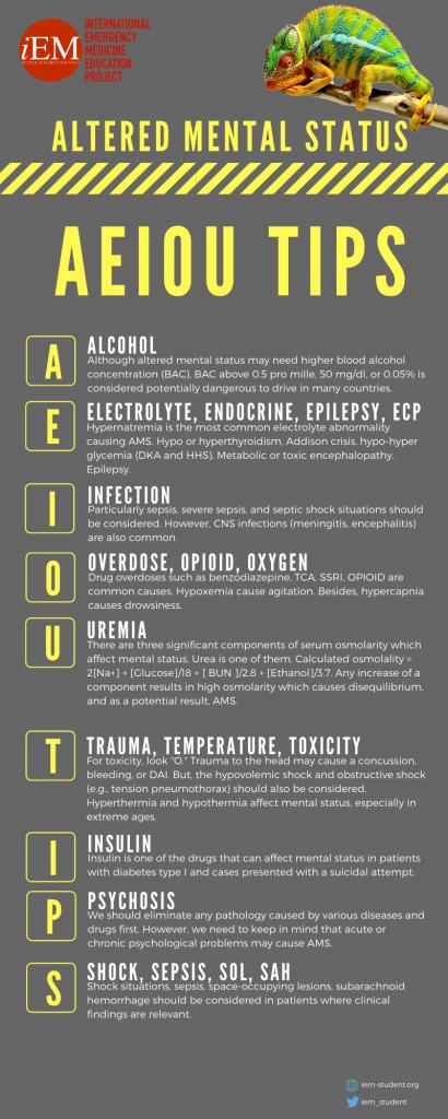 bilinç durum değişikliği koma infografik aeiou tips